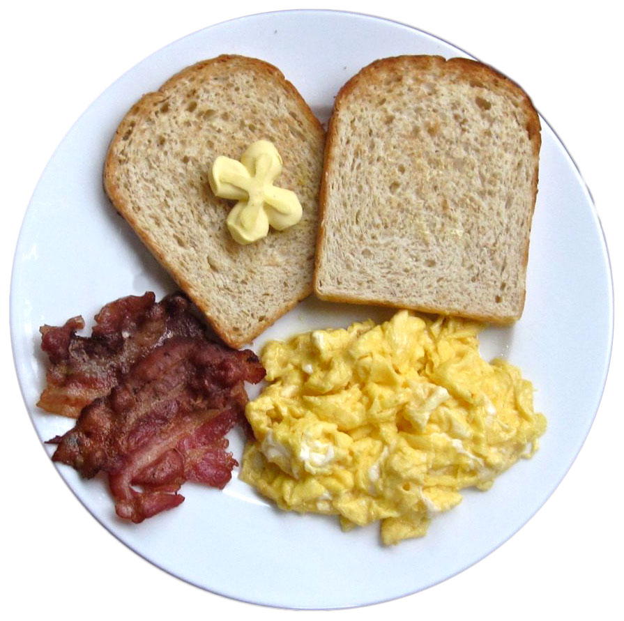 Eggs, toast and bacon