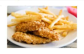 Chicken tenders coated with parmesan & herbs with fries