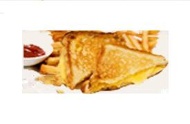 Grilled cheddar cheese sandwich with fries