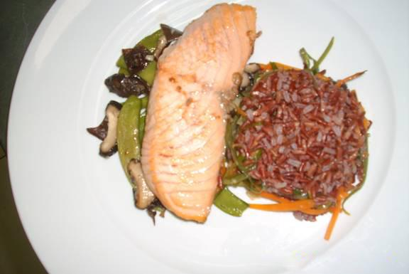 Salmon teriyaki & shiitake, snow peas and wild rice