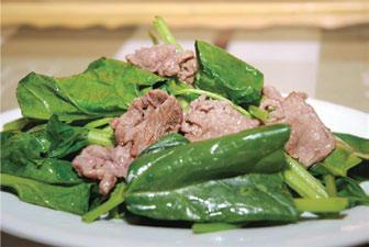 Fried spinach with beef