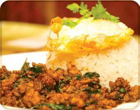 Khao prao gai, moo,  nua pad gra pow (Spicy)