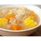 Vegan pork ribs and baby corn soup