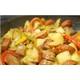 Stir-fried vegan sausages with vegetables