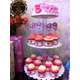 No.52 Set of 1 round cake and 20 cupcakes decorated as Kitty topic