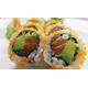 Avocado, salmon inside ebiko roll