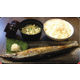Grilled saury fish with salt