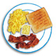 Kids egg, toast, and bacon