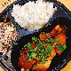 Chicken leg with sweet & sour sauce and rice